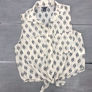 UK2LA sheer cropped top button down tribal print front tie size small